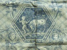 GORGEOUS ANTIQUE FRENCH TOILE DE JOUY PANEL CHERUBS ANIMALS GROTESQUES c1880