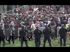 Hungarian police sprayed tear gas on migrants and refugees in the Roszke camp in Asotthalom on the Serbian border, after some of them tried to break out of t. Revelation Bible, Riot Police, Serbian, Hungary, The Outsiders, Friday, Camping, Concert, Board