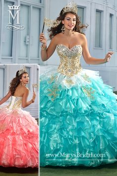 An organza quinceanera ball gown with strapless sweetheart neckline, beads, re-embroidered lace applique, tiered ruffled skirt, lace-up back, and bolero. Available in White/Aqua or White/Bubblegum.