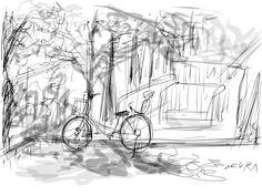 "Kamebori koen park, Koto ward, Tokyo, Japan. (iPad, iOS app""Zen Brush"")"