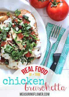 Tangy balsamic vinegar marries with the sweet tomatoes, salty mozzarella cheese, and earthy fresh basil in this amazing real food chicken bruschetta recipe. Bruschetta Recipe, Bruschetta Chicken, Real Food Recipes, Chicken Recipes, Healthy Recipes, Italian Antipasto, Tomato And Cheese, Food Website, Dinner Is Served