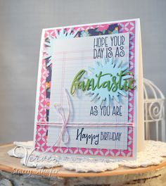 Hand stamped card by Stacey Schafer using the Simply Amazing stamp set from Verve. #vervestamps