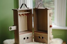 Wooden doll steam trunk, by Fig&me