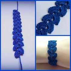 Bracciale uncinetto blu