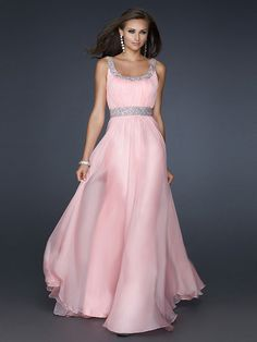 A-line Square Sleeveless Chiffon Prom Dresses/Evening Dresses With Beaded #BK320