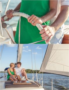 Sailboat Engagement Photos - click to view more of these lovely photos! #sailboat #wedding #engagement #nautical