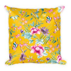 Square Pillow | Summer Time Collection | Yellow pattern Floral Throw Pillow - Classic Beauty Designs