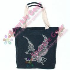 Flying Eagle Navy Blue Sparkle Gear Rope Tote, Crystal Rhinestones