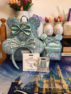 Brand New Authentic Items. **Price is Firm** Set Includes Aqua Backpack Cute Disney Outfits, Disney Themed Outfits, Disney Handbags, Disney Purse, Disney Mickey Ears, Minnie, Disneyland Trip, Disney Trips, Disney Day