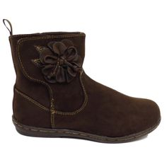 Girls-Kids-Boots-Childrens-Brown-Ankle-Flower-Velcro-School-Shoes-Size-4-12
