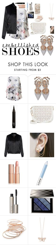 """Embellished Shoes Night"" by hannlzy ❤ liked on Polyvore featuring Valentino, Under One Sky, Glamorous, Embers Gemstone Jewellery, Marc Jacobs, Ilia, Burberry, Red Camel, Alex Monroe and Rifle Paper Co"