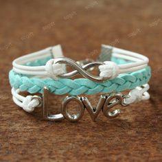 Infinity Bracelet - blue infinity with love symbol bracelet for girls and boys, anniversary gift. $7.99, via Etsy.