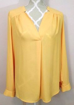 03a7e9c031bf1 Pleione Womens Yellow Long Sleeve Loose Blouse Size M  Pleione  Blouse  Anthropologie