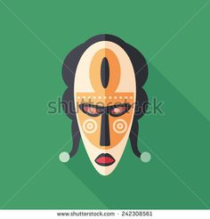 Carnival mask flat square icon with long shadows. #flaticons #vectoricons #flatdesign