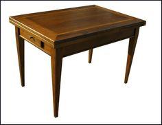 Tavolo rettangolare artigianale apribile a scatto con piano intarsiato