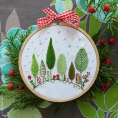 "Christmas Forest - 4"" embroidery kit"