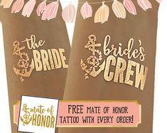 1 Bride & equipaggio Tats della sposa / oro Sexy tatuaggi per