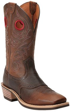 Ariat® Heritage Roughstock™ Men's Brown Oiled Rowdy Square Toe Cowboy Boots