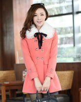 TC000727 Korean style repair waist removable woolen coat for women