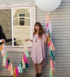 Paper Tassel Garland & Giant Balloon - Indian Summer by Paper Fox on Scoutmob Shoppe. Give your shindig a modern, crafty feel with a handmade paper tassel garland and giant balloon set.