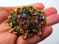 Vintage Antique Brooch Multi Color Rhinestones Domed (repair - Needs pin closure #Unbranded