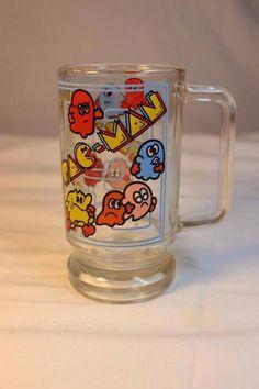 Pac-Man Glass Arcade Mug Original Vintage 80s Houze Cup Handled Excellent