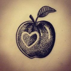 This is also available to tattoo :) space this week! #Apple #tattoo #tattooing #tattooshop #exeter #harlequincentre #burn_the_witch_tattoo #spacethisweek #ink #inked #inkedgirls #heart #appletattoo #dotwork #dots #dotworkers