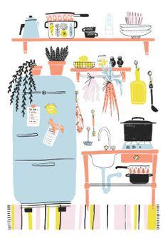 cute and colorful kitchen illustration - Oh Hi Co. - - cute and colorful kitchen illustration - Oh Hi Co. Illustration Photo, Pattern Illustration, Guache, Poster S, Art Graphique, Grafik Design, Illustrations And Posters, Kitchen Colors, Illustrators