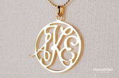 Monogram Necklace 1inch Circle Personalized Initial by monoArtian, $70.00