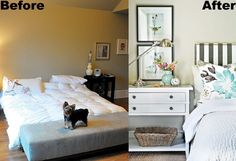 Bedroom makeover before and after photos