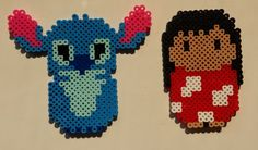 Perler bead Lilo and Stitch characters by Joanne Schiavoni Kandi Patterns, Pearler Bead Patterns, Perler Patterns, Pearler Beads, Beading Patterns, Disney Diy, Disney Crafts, Disney Cruise, Lilo And Stitch Characters
