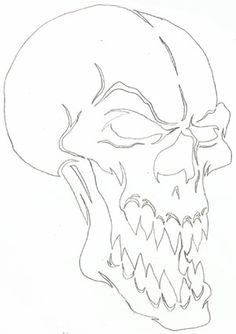 Easy Skull Drawings, Demon Drawings, Creepy Drawings, Outline Drawings, Cool Art Drawings, Pencil Art Drawings, Art Sketches, Evil Skull Tattoo, Skull Tattoos