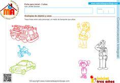Actividad a realizar: Traza líneas entre cada personaje y el medio de transporte que utiliza. Analogía de objetos y usos