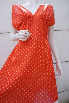 Robe Dress Vintage VTG 70 T 42 44 orange TwIGgy RETRO trapeze MINI HippY