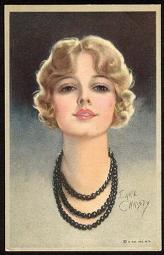 EARL CHRISTY Pretty Woman Postcard c 1920's Blonde Wearing Black Pearls