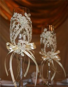 Lace Wedding Decorations | decoration of wedding glasses - crafts ideas - crafts for kids