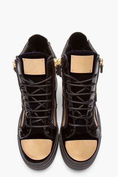 GIUSEPPE ZANOTTI Navy Velvet Metal-Plated High-Top Sneakers