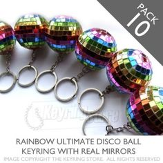 XXL Mirror Multicolour Disco ball keyrings - pack 10