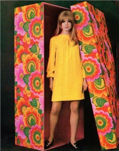 Marianne Faithful as Barbie | 1968 ~ yellow dress and mod-printed box in bright green, orange, pink ...