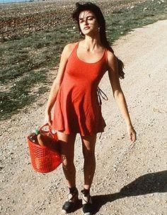 "Penelope Cruz wearing espadrilles in Bigas Luna's film ""Jamon Jamon""."