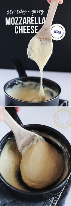 Stretchy, gooey, VEGAN, homemade mozzarella cheese. EASY - only 10 minutes to make! www.pastabased.com