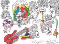 70s Legends Markers Pencil copy paper small original art Musicians Hair #Abstract