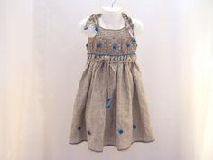 Vestido de lino lino orgánico para el bebé niña