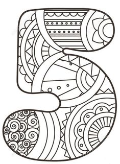 Number 5 Zentangle coloring page from Zentangle Numbers category. Select from 21162 printable crafts of cartoons, nature, animals, Bible and… Star Coloring Pages, Printable Coloring Pages, Coloring Sheets, Coloring Pages For Kids, Coloring Books, Printable Numbers, Printable Crafts, Free Printables, Zentangle