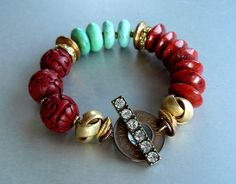 Bold Red Carved Cinnabar Bracelet with Green Magnesite, Red Sponge Coral and Copper and Gold Accents - Antique Coin Clasp