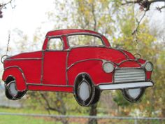 Stained Glass Suncatcher  Old Red Pickup. by TheHuckleberryBucket