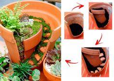 Fairy garden made from broken clay pot