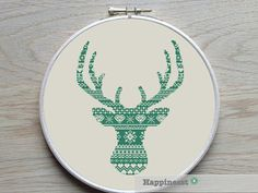 Al modern deer pattern in just one color. Choose your own favorite! This is the big brother of my other deer pattern: