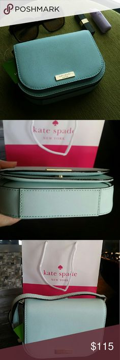 """NWT Kate Spade Cross Body Brand new with tags Kate spade saddle Crossbody bag in graceblue (mint colored) color. Saffiano leather with snap closure. Adjustable strap. Has an outer slot. Fully lined. I have the same purse in geranium (red) . Measurements 7"""" X 6"""" X 2""""  It will have a care card and I can include the Kate spade shopping bag and tissue paper if you like.   Open to offers. kate spade Bags Crossbody Bags"""