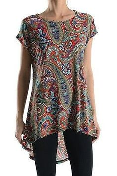 Paisley Print Short Sleeve Asymmetrical Hi-Low Hem Long Tunic Top Shirt Dress